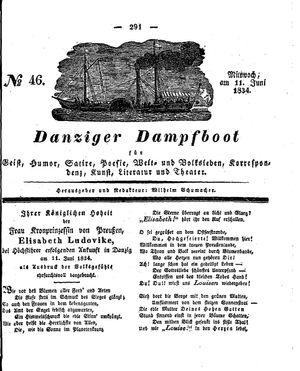 Danziger Dampfboot für Geist, Humor, Satire, Poesie, Welt- und Volksleben, Korrespondenz, Kunst, Literatur und Theater vom 11.06.1834
