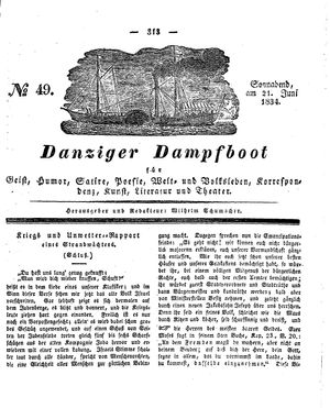 Danziger Dampfboot für Geist, Humor, Satire, Poesie, Welt- und Volksleben, Korrespondenz, Kunst, Literatur und Theater vom 21.06.1834