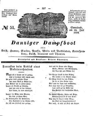 Danziger Dampfboot für Geist, Humor, Satire, Poesie, Welt- und Volksleben, Korrespondenz, Kunst, Literatur und Theater vom 28.06.1834