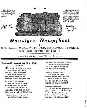 Danziger Dampfboot für Geist, Humor, Satire, Poesie, Welt- und Volksleben, Korrespondenz, Kunst, Literatur und Theater vom 01.07.1834