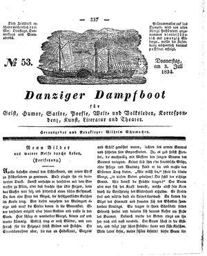 Danziger Dampfboot für Geist, Humor, Satire, Poesie, Welt- und Volksleben, Korrespondenz, Kunst, Literatur und Theater vom 03.07.1834