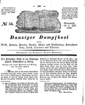 Danziger Dampfboot für Geist, Humor, Satire, Poesie, Welt- und Volksleben, Korrespondenz, Kunst, Literatur und Theater vom 05.07.1834