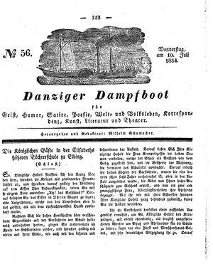 Danziger Dampfboot für Geist, Humor, Satire, Poesie, Welt- und Volksleben, Korrespondenz, Kunst, Literatur und Theater vom 10.07.1834