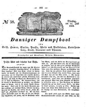 Danziger Dampfboot für Geist, Humor, Satire, Poesie, Welt- und Volksleben, Korrespondenz, Kunst, Literatur und Theater vom 15.07.1834