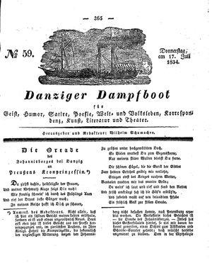 Danziger Dampfboot für Geist, Humor, Satire, Poesie, Welt- und Volksleben, Korrespondenz, Kunst, Literatur und Theater vom 17.07.1834