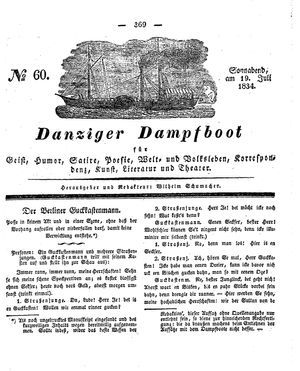 Danziger Dampfboot für Geist, Humor, Satire, Poesie, Welt- und Volksleben, Korrespondenz, Kunst, Literatur und Theater vom 19.07.1834