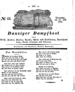 Danziger Dampfboot für Geist, Humor, Satire, Poesie, Welt- und Volksleben, Korrespondenz, Kunst, Literatur und Theater vom 24.07.1834