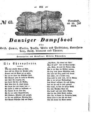 Danziger Dampfboot für Geist, Humor, Satire, Poesie, Welt- und Volksleben, Korrespondenz, Kunst, Literatur und Theater vom 26.07.1834