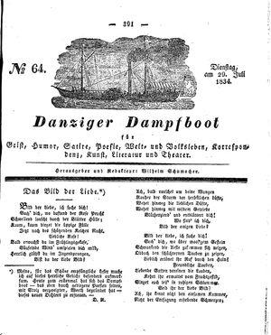 Danziger Dampfboot für Geist, Humor, Satire, Poesie, Welt- und Volksleben, Korrespondenz, Kunst, Literatur und Theater vom 29.07.1834