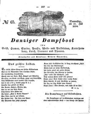 Danziger Dampfboot für Geist, Humor, Satire, Poesie, Welt- und Volksleben, Korrespondenz, Kunst, Literatur und Theater vom 31.07.1834