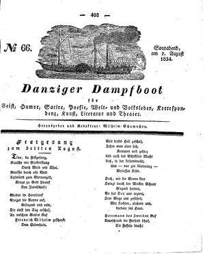 Danziger Dampfboot für Geist, Humor, Satire, Poesie, Welt- und Volksleben, Korrespondenz, Kunst, Literatur und Theater vom 02.08.1834