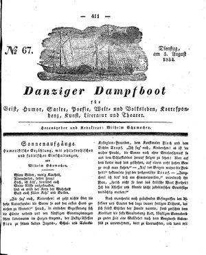Danziger Dampfboot für Geist, Humor, Satire, Poesie, Welt- und Volksleben, Korrespondenz, Kunst, Literatur und Theater vom 05.08.1834