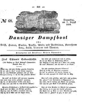 Danziger Dampfboot für Geist, Humor, Satire, Poesie, Welt- und Volksleben, Korrespondenz, Kunst, Literatur und Theater vom 07.08.1834