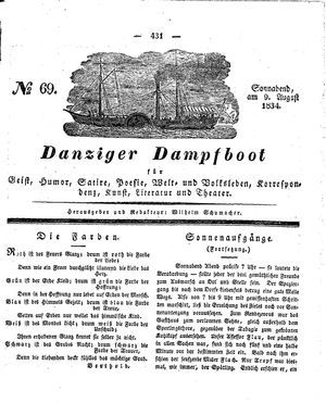 Danziger Dampfboot für Geist, Humor, Satire, Poesie, Welt- und Volksleben, Korrespondenz, Kunst, Literatur und Theater vom 09.08.1834
