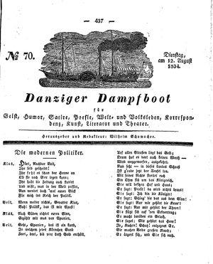 Danziger Dampfboot für Geist, Humor, Satire, Poesie, Welt- und Volksleben, Korrespondenz, Kunst, Literatur und Theater vom 12.08.1834