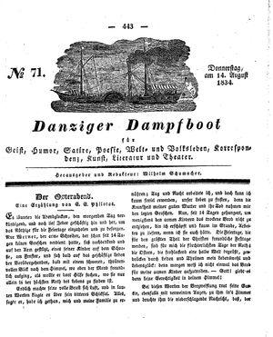 Danziger Dampfboot für Geist, Humor, Satire, Poesie, Welt- und Volksleben, Korrespondenz, Kunst, Literatur und Theater vom 14.08.1834