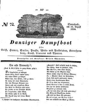 Danziger Dampfboot für Geist, Humor, Satire, Poesie, Welt- und Volksleben, Korrespondenz, Kunst, Literatur und Theater vom 16.08.1834
