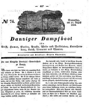 Danziger Dampfboot für Geist, Humor, Satire, Poesie, Welt- und Volksleben, Korrespondenz, Kunst, Literatur und Theater vom 21.08.1834