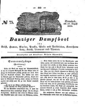 Danziger Dampfboot für Geist, Humor, Satire, Poesie, Welt- und Volksleben, Korrespondenz, Kunst, Literatur und Theater vom 23.08.1834