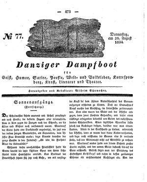 Danziger Dampfboot für Geist, Humor, Satire, Poesie, Welt- und Volksleben, Korrespondenz, Kunst, Literatur und Theater vom 28.08.1834