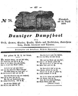 Danziger Dampfboot für Geist, Humor, Satire, Poesie, Welt- und Volksleben, Korrespondenz, Kunst, Literatur und Theater vom 30.08.1834