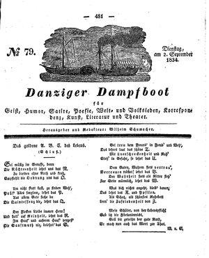 Danziger Dampfboot für Geist, Humor, Satire, Poesie, Welt- und Volksleben, Korrespondenz, Kunst, Literatur und Theater vom 02.09.1834