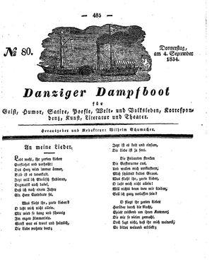 Danziger Dampfboot für Geist, Humor, Satire, Poesie, Welt- und Volksleben, Korrespondenz, Kunst, Literatur und Theater vom 04.09.1834