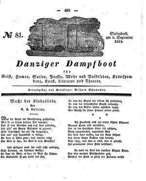 Danziger Dampfboot für Geist, Humor, Satire, Poesie, Welt- und Volksleben, Korrespondenz, Kunst, Literatur und Theater vom 06.09.1834