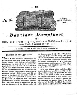 Danziger Dampfboot für Geist, Humor, Satire, Poesie, Welt- und Volksleben, Korrespondenz, Kunst, Literatur und Theater vom 09.09.1834