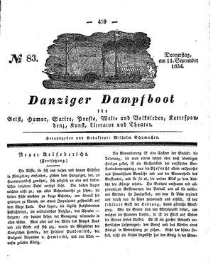 Danziger Dampfboot für Geist, Humor, Satire, Poesie, Welt- und Volksleben, Korrespondenz, Kunst, Literatur und Theater vom 11.09.1834