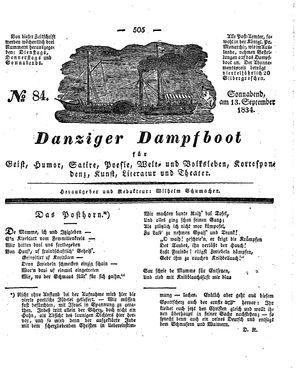 Danziger Dampfboot für Geist, Humor, Satire, Poesie, Welt- und Volksleben, Korrespondenz, Kunst, Literatur und Theater vom 13.09.1834