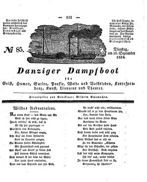Danziger Dampfboot für Geist, Humor, Satire, Poesie, Welt- und Volksleben, Korrespondenz, Kunst, Literatur und Theater vom 16.09.1834