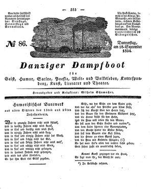 Danziger Dampfboot für Geist, Humor, Satire, Poesie, Welt- und Volksleben, Korrespondenz, Kunst, Literatur und Theater vom 18.09.1834