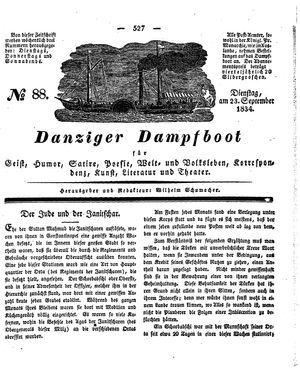 Danziger Dampfboot für Geist, Humor, Satire, Poesie, Welt- und Volksleben, Korrespondenz, Kunst, Literatur und Theater vom 23.09.1834