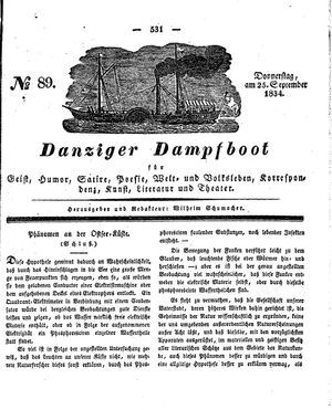 Danziger Dampfboot für Geist, Humor, Satire, Poesie, Welt- und Volksleben, Korrespondenz, Kunst, Literatur und Theater vom 25.09.1834