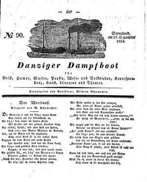 Danziger Dampfboot für Geist, Humor, Satire, Poesie, Welt- und Volksleben, Korrespondenz, Kunst, Literatur und Theater vom 27.09.1834