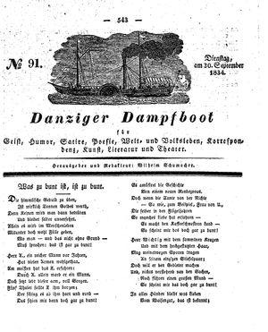 Danziger Dampfboot für Geist, Humor, Satire, Poesie, Welt- und Volksleben, Korrespondenz, Kunst, Literatur und Theater vom 30.09.1834