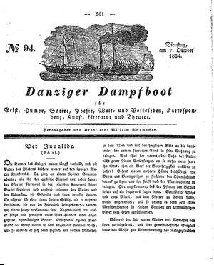 Danziger Dampfboot für Geist, Humor, Satire, Poesie, Welt- und Volksleben, Korrespondenz, Kunst, Literatur und Theater on Oct 7, 1834
