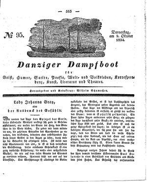 Danziger Dampfboot für Geist, Humor, Satire, Poesie, Welt- und Volksleben, Korrespondenz, Kunst, Literatur und Theater vom 09.10.1834