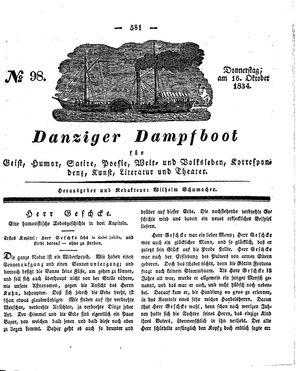 Danziger Dampfboot für Geist, Humor, Satire, Poesie, Welt- und Volksleben, Korrespondenz, Kunst, Literatur und Theater vom 16.10.1834
