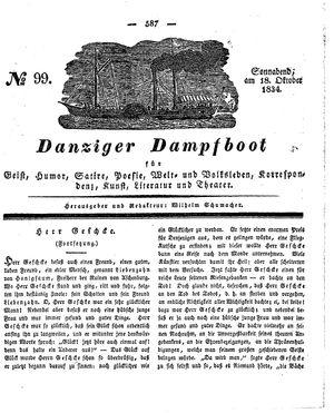 Danziger Dampfboot für Geist, Humor, Satire, Poesie, Welt- und Volksleben, Korrespondenz, Kunst, Literatur und Theater vom 18.10.1834