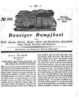 Danziger Dampfboot für Geist, Humor, Satire, Poesie, Welt- und Volksleben, Korrespondenz, Kunst, Literatur und Theater vom 21.10.1834