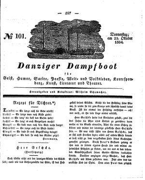 Danziger Dampfboot für Geist, Humor, Satire, Poesie, Welt- und Volksleben, Korrespondenz, Kunst, Literatur und Theater vom 23.10.1834