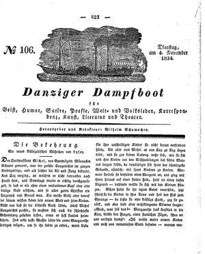 Danziger Dampfboot für Geist, Humor, Satire, Poesie, Welt- und Volksleben, Korrespondenz, Kunst, Literatur und Theater vom 04.11.1834