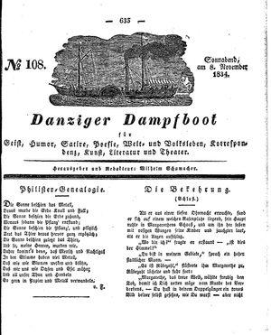 Danziger Dampfboot für Geist, Humor, Satire, Poesie, Welt- und Volksleben, Korrespondenz, Kunst, Literatur und Theater vom 08.11.1834