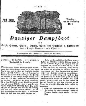 Danziger Dampfboot für Geist, Humor, Satire, Poesie, Welt- und Volksleben, Korrespondenz, Kunst, Literatur und Theater vom 11.11.1834
