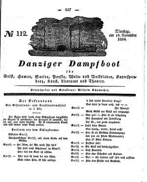 Danziger Dampfboot für Geist, Humor, Satire, Poesie, Welt- und Volksleben, Korrespondenz, Kunst, Literatur und Theater vom 18.11.1834