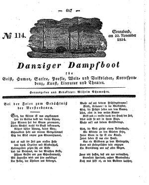 Danziger Dampfboot für Geist, Humor, Satire, Poesie, Welt- und Volksleben, Korrespondenz, Kunst, Literatur und Theater vom 22.11.1834