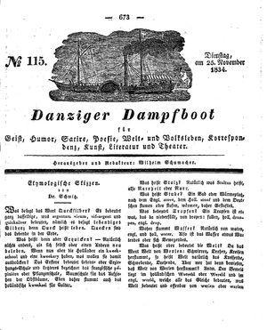 Danziger Dampfboot für Geist, Humor, Satire, Poesie, Welt- und Volksleben, Korrespondenz, Kunst, Literatur und Theater vom 25.11.1834