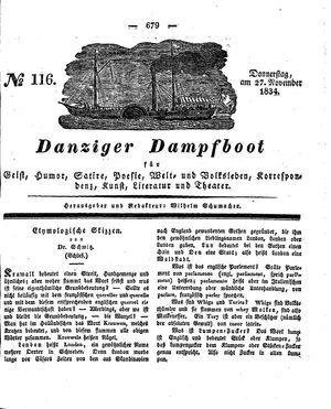 Danziger Dampfboot für Geist, Humor, Satire, Poesie, Welt- und Volksleben, Korrespondenz, Kunst, Literatur und Theater vom 27.11.1834